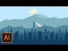 Adobe Illustrator CC Tutorial - How to design Flat landscape Wallpaper - YouTube