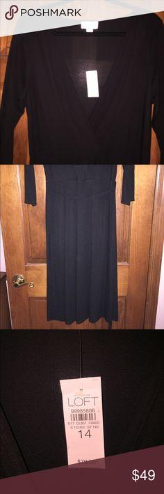 Loft wrap around bee neck dress! A/line black v neck. the loft Dresses Maxi