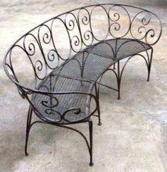Wrought Iron Patio Benches - Ideas on Foter Wrought Iron Bench, Wrought Iron Decor, Metal Outdoor Bench, Indoor Outdoor, Outdoor Benches, Metal Deck, Garden Benches, Garden Table, Iron Furniture