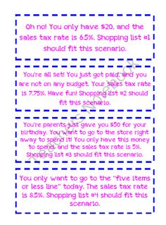 GOING SHOPPING - finding sales tax and total cost: 7.RP.3 product from KlaRenays-Shop on TeachersNotebook.com