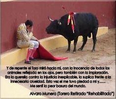 """Los """"animales"""" sí saben de justicia y que el salvajismo de la corrida de toros no es ni """"arte"""" ni cultura""""."""