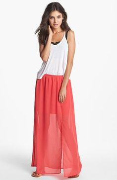 h.i.p. Front Slit Chiffon Maxi Skirt (Juniors) available at #Nordstrom