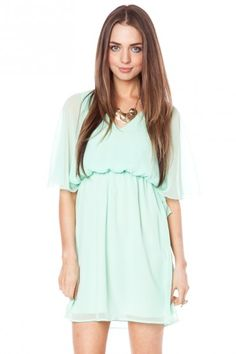Mint flutter dress. I think it's similar to this dress(ish). This one is sold out, though.