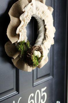 burlap muslin diy spring wreath