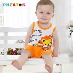 Cartoon Baby Boy Summer Clothes Sleeveless Vest + Shorts Toddler Boys Clothing Soft Cotton Toddler Girl Clothing Ensemble Fille #>=#>=#>=#>=#> Click on the pin to check out discount price, color, size, shipping, etc. Save and like it!