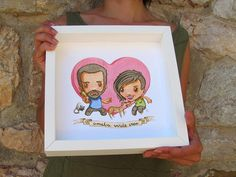 Custom Watercolor Portrait. Individual, couple, wedding, friends or family portrait. By Ameba Verde on Etsy.