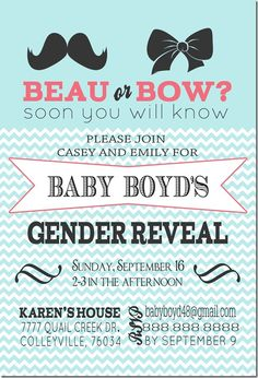 For baby I love gender reveal parties! This is what I want to do the second time around. Baby Shower Gender Reveal, Baby Gender, Gender Party, Gender Reveal Invitations, Everything Baby, Reveal Parties, Baby Party, Future Baby, Baby Love