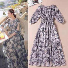 Summer 2014 Charming Printed Chiffon Long Dress  Beach Dress 140623HU01 $63.90
