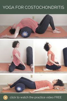 These gentle poses help relieve pain caused by costochondritis which is a common problem for people with fibromyalgia. Get the full practice video at . Chronic Illness, Chronic Pain, Rib Pain, Yoga For Back Pain, Back Pain Exercises, Yoga Routine, Yoga Videos, Sport, Exercises