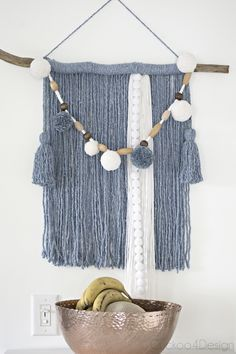 Mop head yarn wall hanging, DIY and Crafts, Making wall weavings and yarn art can be super easy and I& showing you how to make a Mop head yarn wall hanging with some affordable supplies. Yarn Wall Art, Wall Hanging Crafts, Yarn Wall Hanging, Wall Hangings, Easy Diy Crafts, Yarn Crafts, Mop Heads, Macrame Projects, Macrame Art