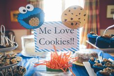"""Owens 1st Birthday: Dessert Table Cookie Monster Centerpiece """"Me Love Cookies"""" sign Photo By Ashley DaCruz Photography"""