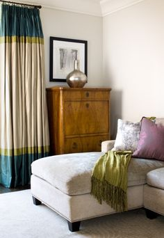 Love these drapes: Rosedale Living Room Drape Vignette - Lisa Ferguson Interior Design Drapery Panels, Curtains With Blinds, Valances, Plain Curtains, Striped Curtains, Window Drapes, Hanging Curtains, Window Panels, Living Room Drapes