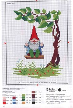 swinging gnome cross stitch pattern.  This is awesome.