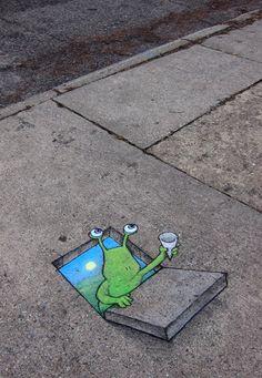 david+zinn+sidewalk+art Sidewalk Chalk Art Of Sluggo By David Zinn Amazing Street Art . 3d Street Art, Amazing Street Art, Street Art Graffiti, Street Artists, Amazing Art, 3d Street Painting, David Zinn, 3d Sidewalk Art, Graffiti Kunst