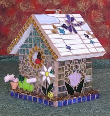 Image result for mosaic birdhouses
