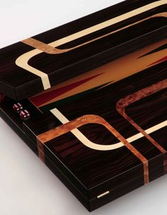 Backgammon set by Christopher Hughes - detail.