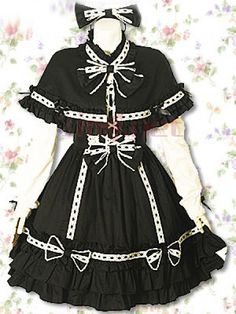 $111.98Stand-up Collar Ruffles Empire Knee-length Cotton Gothic Lolita #Dress #With #Bow