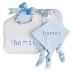 This Personalised baby bib and teddy dou dou comforter arrives in acute retro style baby suitcase tied with a big blue ribbon. Baby's name is embroidered onto the baby bib and baby comforter. Keepsake Baby Gifts, Baby Boy Gifts, Beautiful Gifts, Beautiful Babies, Dou Dou, Baby Comforter, Personalized Baby Gifts, Blue Ribbon, Baby Bibs