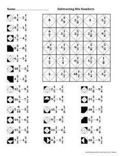 Subtracting Mixed Numbers Color Worksheet by Aric Thomas Math 8, Maths Puzzles, 5th Grade Math, Teaching Math, Math Activities, Reto Mental, Algebraic Expressions, Graph Paper Art, Fun Worksheets