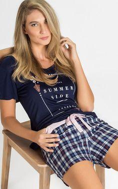 MIRANDA - Descubra o lado Fashion do verão! Blusa Modal 100%, short de tricoline xadrez.