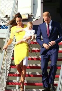 "Prince William, Duke of Cambridge, Catherine "" Kate "" Duchess of Cambridge & Prince George of Cambridge arrive in Australia"