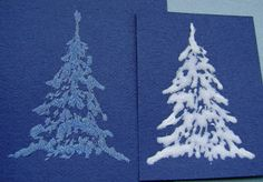 From My Craft Room: Tutorial - Snow-covered fir/pine trees, white glitter by mixing acrlic paint in, kaarten maken, glitter met witte acrylverf mengen, stempelen Homemade Christmas Cards, Christmas Cards To Make, Christmas Decorations To Make, Xmas Cards, Homemade Cards, Christmas Crafts, Card Making Tutorials, Card Making Techniques, Diy Arts And Crafts