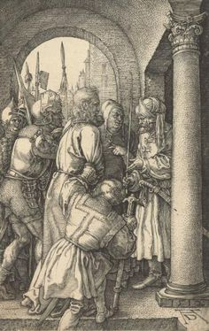 """Albrecht Dürer ~ V. """"Christ Before Pilate,"""" 1512.  Sheet 4 from the series """"The Engraved Passion"""" Story:  Gospels according to Matthew 27; to Mark 15; to Luke 23  Monogram and date 1512  Copperplate engraving  116×74 mm"""
