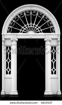 stock photo : Georgian doorway in Dublin, Ireland, with cast iron fanlight and molded ionic columns