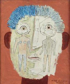 Victor Brauner (1903-1966)- Couple Portrait (Portrait du coté couple), 1959. Oil on canvas.