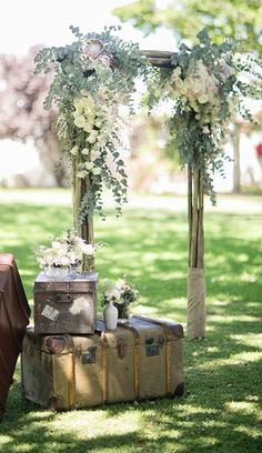 Gorgeously rustic outdoor wedding ceremony decor; Featured Photographer: Tyme Photography