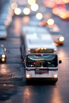 This is a great example of selective focus, with the front of the bus being the CVI of the picture, and the rest of the traffic being blurred, creating an interesting combination of light and color.