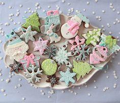 Galletas navideñas colores pastel