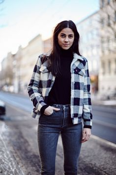 Check, mate. Swap your denim Trucker Jacket for sherpa-lined wool in the winter months. Put it on top of your favorite turtleneck and a pair of dark, 501 Skinny jeans. As seen at Berlin Fashion Week. Photo: Eye Candy Berlin.