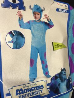 Child Costume Size 3T 4T Monsters University Sulley Blue Tail Halloween Disney | eBay