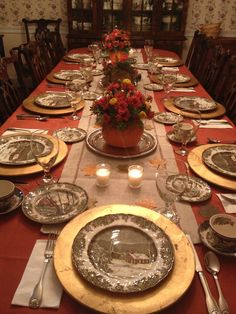 My thanksgiving table. Love my grandmother's Johnson Brothers Friendly Village dishes. Beautiful fall colors