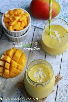 Mango Orange Coconut Green Smoothie - Life Made Sweeter.jpg #weightloss