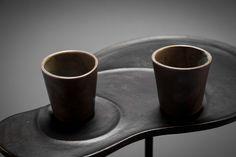 le alzate (footed plate) stoneware, porcelain, ash glaze