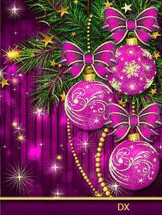 Christmas Tree Gif, Merry Christmas Pictures, Merry Christmas Happy Holidays, Purple Christmas, Christmas Scenes, Christmas Greetings, Christmas Time, Christmas Bulbs, Christmas Decorations