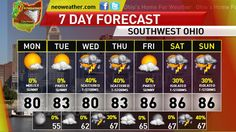 http://neoweather.com/Textforecast/2013/07/28/7292013-pleasant-weather-with-sunshine-cincinnati/ Your Sunday PM/Monday Forecast for Southwest Ohio, Greater Cincinnati and Dayton, is available at neoweather.com