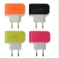 Universal 3.1A EU Plug LED Indicator Light 3 USB  Charger Adapter for Samsung