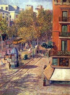 Darío de Regoyos y Valdés (Ribadesella Spain, 1857 - Barcelona, 1913) - Las Ramblas de las Flores