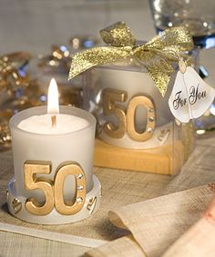 Golden 50th Anniversary Candle Favors