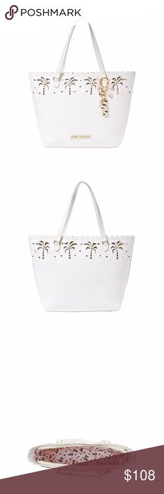 Betsey Johnson Coconuts About You Tote DETAILS This oversized tote is a beachside delight! It's chic metallic shape features abstract palm trees lining a scalloped edge. The final touch is a pearl and jewel dangle for a feminine touch.  Tote Double handles Metallic sides Palm tree decoration Scalloped edge Pearl and jewel dangle Zipper closure Fully lined interior 13''H x 18W x 4''; 22'' Strap 9'' Drop Strap Betsey Johnson Bags Totes