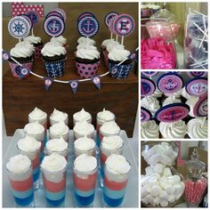 Anchor pink & navy party. Perfect for a nautical baby shower or birthday. LOTS of printables included! Check out the cute toppers & mini pennants!