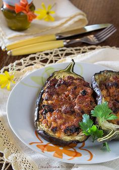 Eggplant Stuffed with sausage and cheese