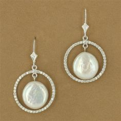 Sterling Silver Coin Pearl & Cubic Zirconia Circle Euro Earrings - Fire and Ice
