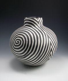 /raku-vase-black-and-white-swirl-pattern