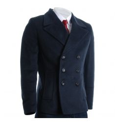 FLATSEVEN Men's Slim Fit Single Breasted Two Button Wool Blend Long Coat (CT419) - Jackets & Coats