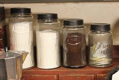 If you've been looking for a classic update for your kitchen then we've got the perfect collection for you. Our Hoosier Jars with clear striated glass and metal Glass Canisters, Canister Sets, Country Farmhouse, Home And Living, Rustic Decor, Mason Jars, Metal, Vintage, Colonial