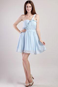 Light Blue Chiffon Short Graduation Dress 2017 Vestido De Formatura One Shoulder Homecoming Dresses for Graduation